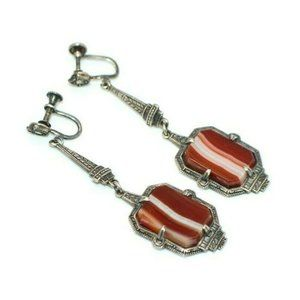 Art Deco Sterling Silver Marcasite Red Agate Drop